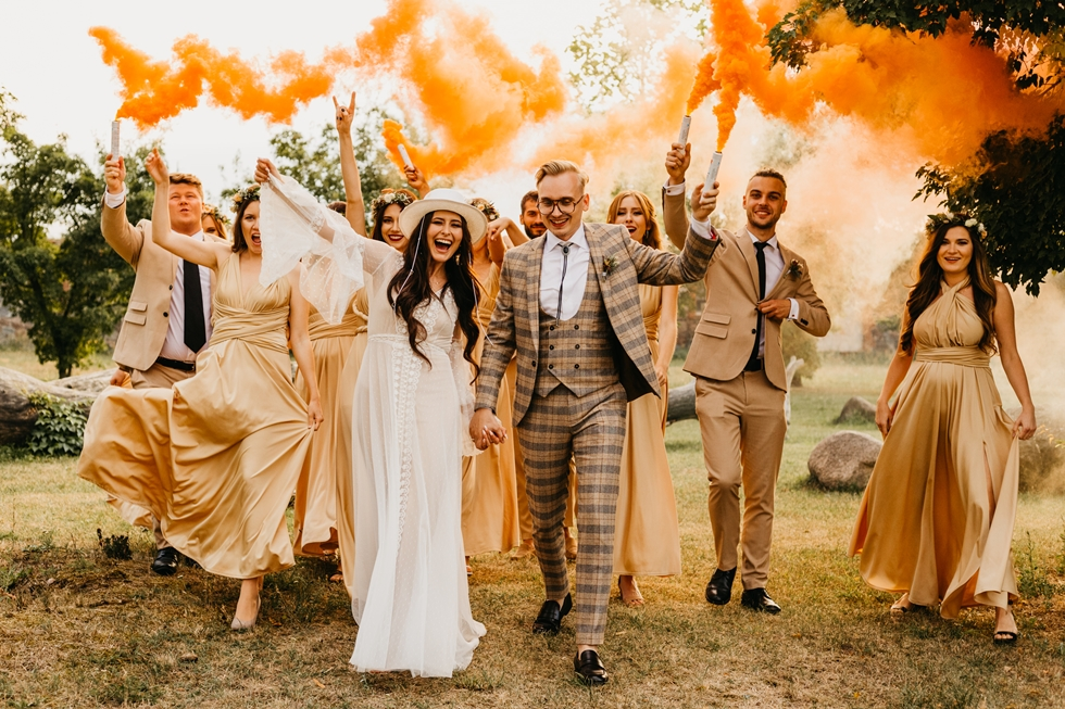 team bride team groom festival wedding